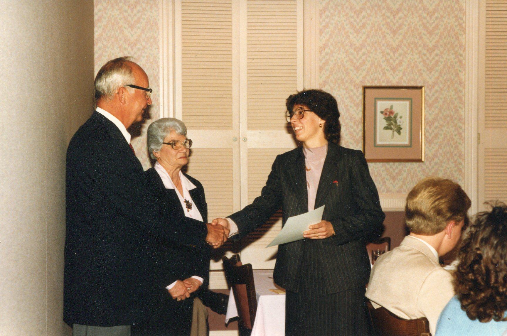 Nancy Wojechowski receiving an award